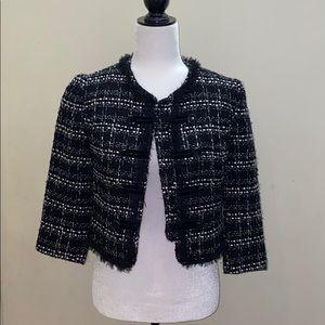 Tweed cropped button up stylish jacket blazer nwot